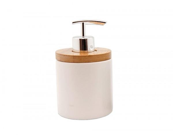 P&P Accessoires Keramik Seifenspender weiß mit Bambus