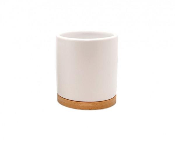 P&P Accessoires Keramik Mundbecher weiß mit Bambus