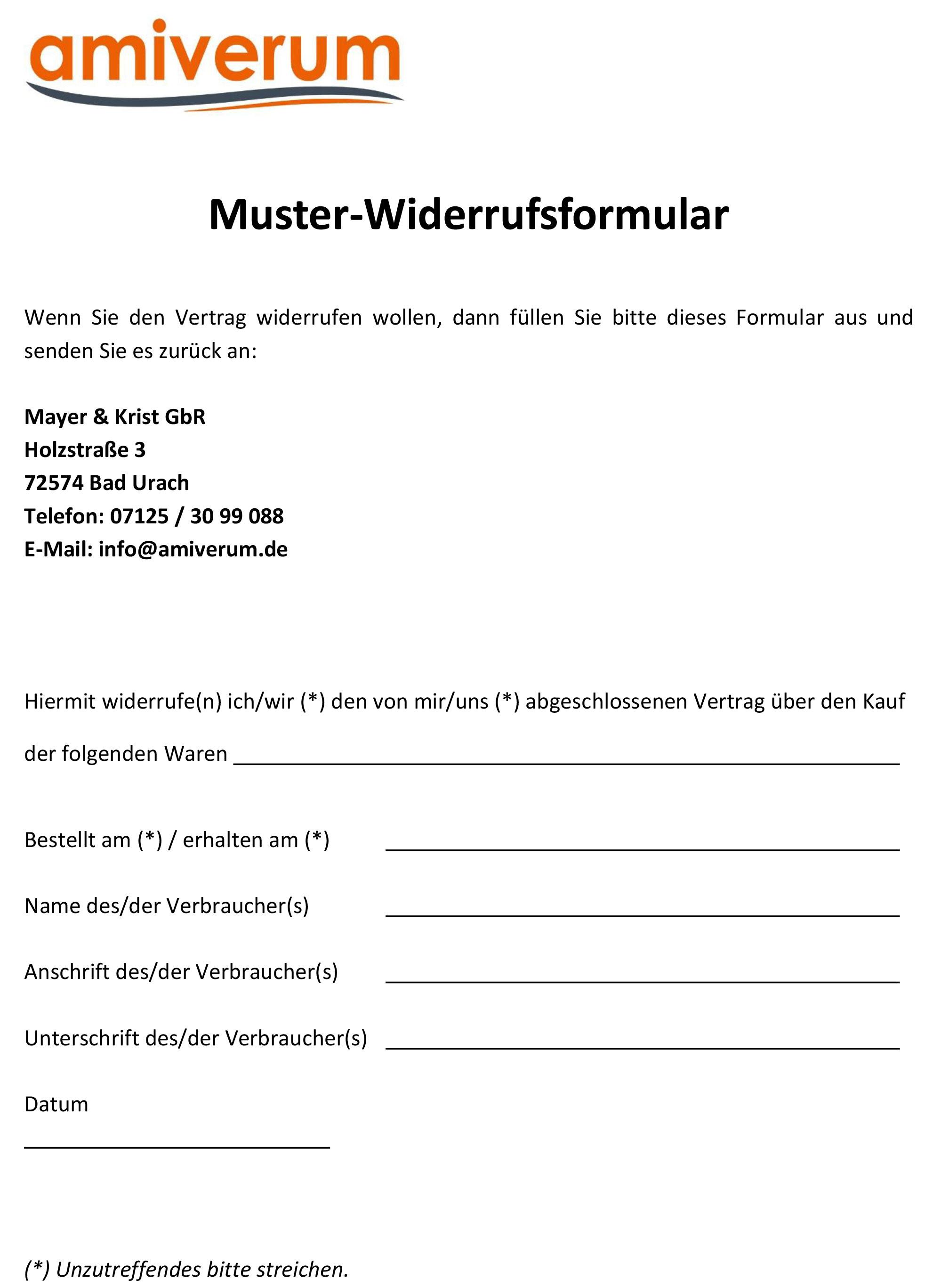 Muster-Widerrufsformular