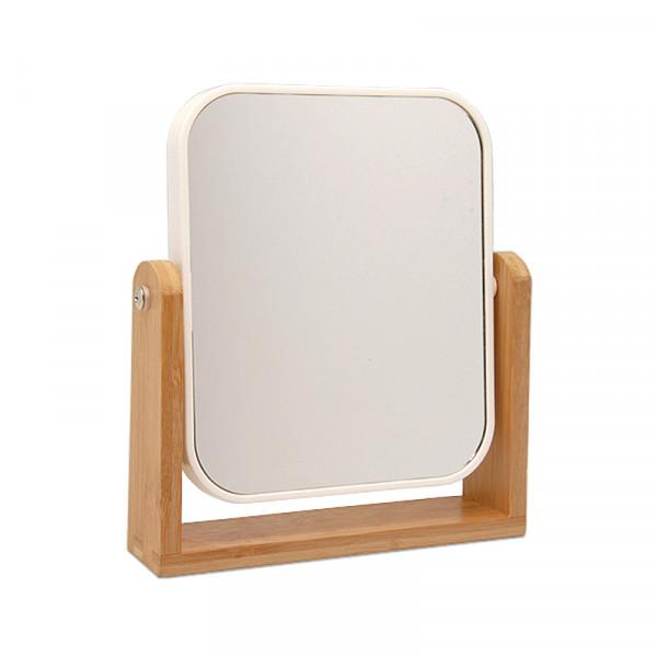 Standspiegel Kunststoff weiß mit Bambus 5x Vergrößerung
