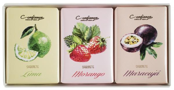 Confianca 1894 Geschenkbox mit fruchtigen Seifen 3 x 100g