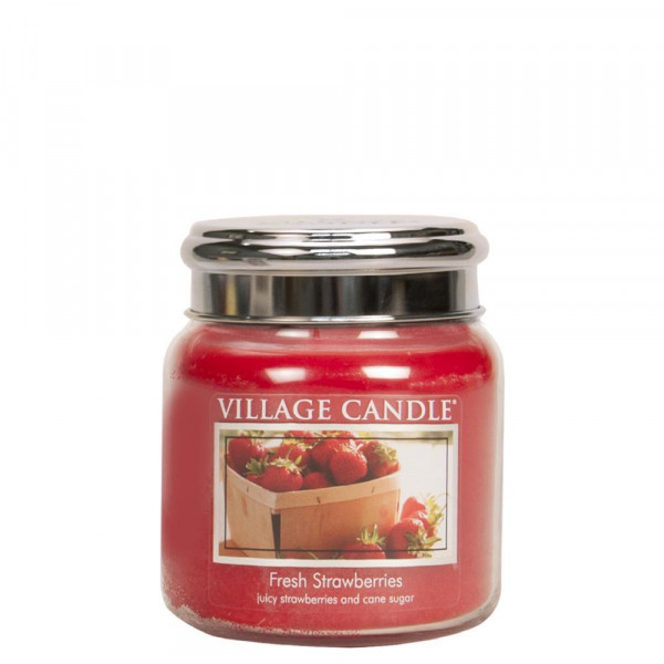 Village Candle Duftkerze Fresh Strawberries im Glas 411g