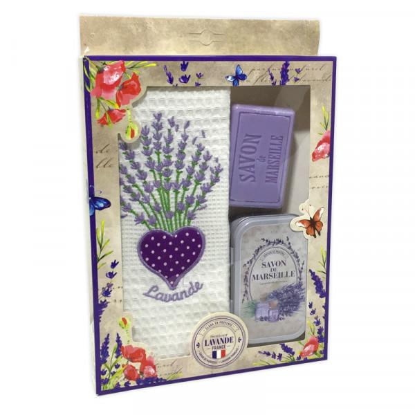 Clara en Provence Geschirrtuch mit Lavendelseife & Metalldose